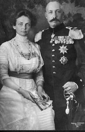 Ferdinand de Bourbon des Deux-Siciles et son épouse, née Marie de Bavière, duc et duchesse de Calabre