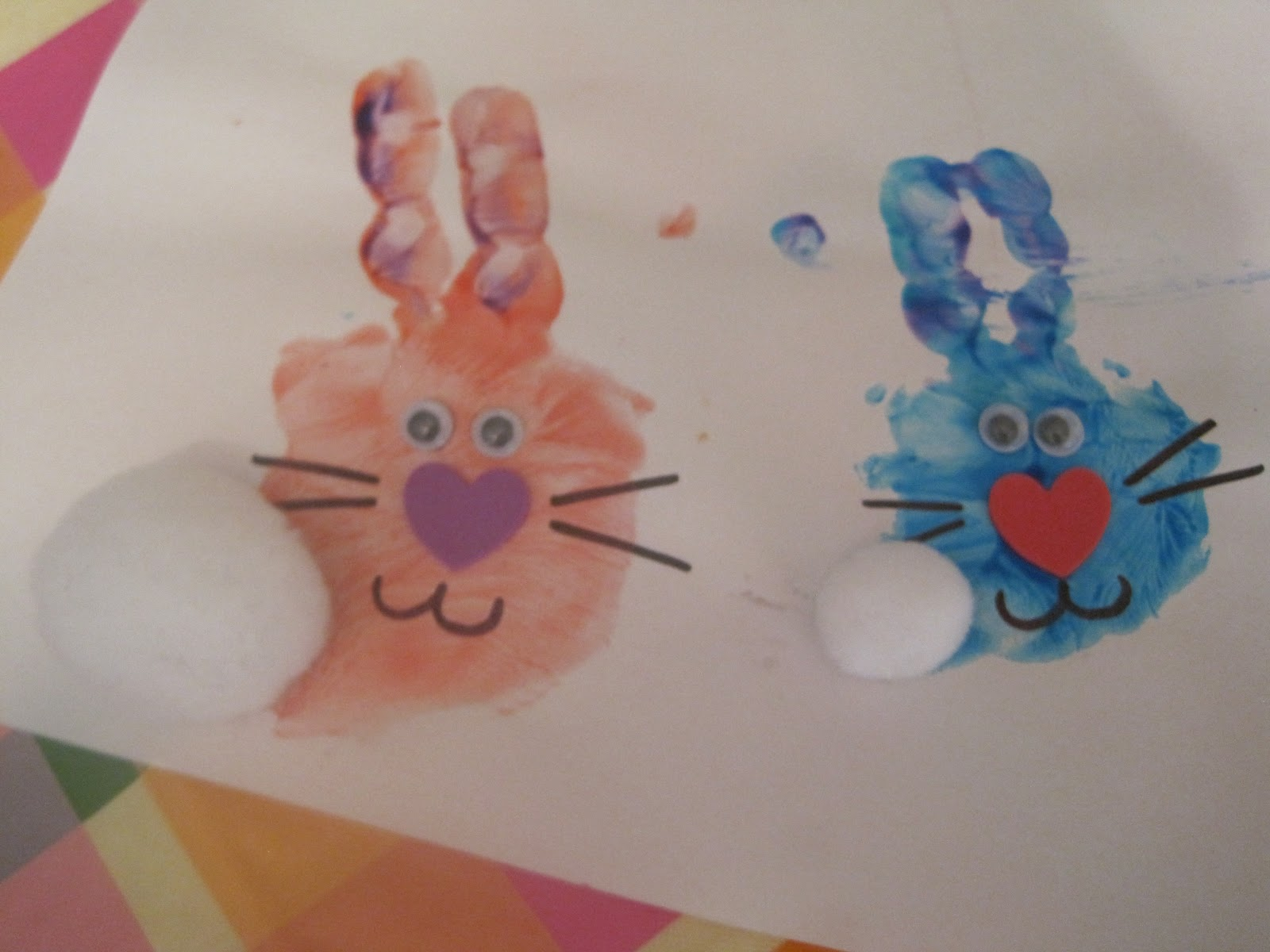 walk in the sunshine hand print easter bunny and spring flowers