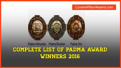 Complete List of Padma Award Winners 2016
