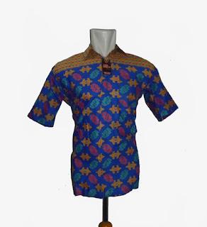 Baju batik pria modern Biru