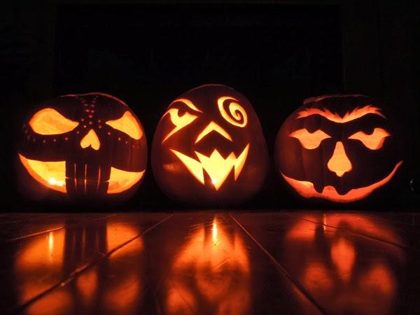 Spooky carved Halloween pumpkins
