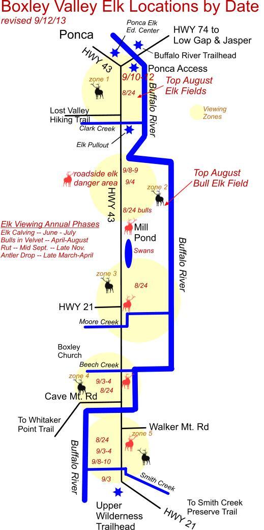 Septemer 12, 2013 Elk Herd Location Map