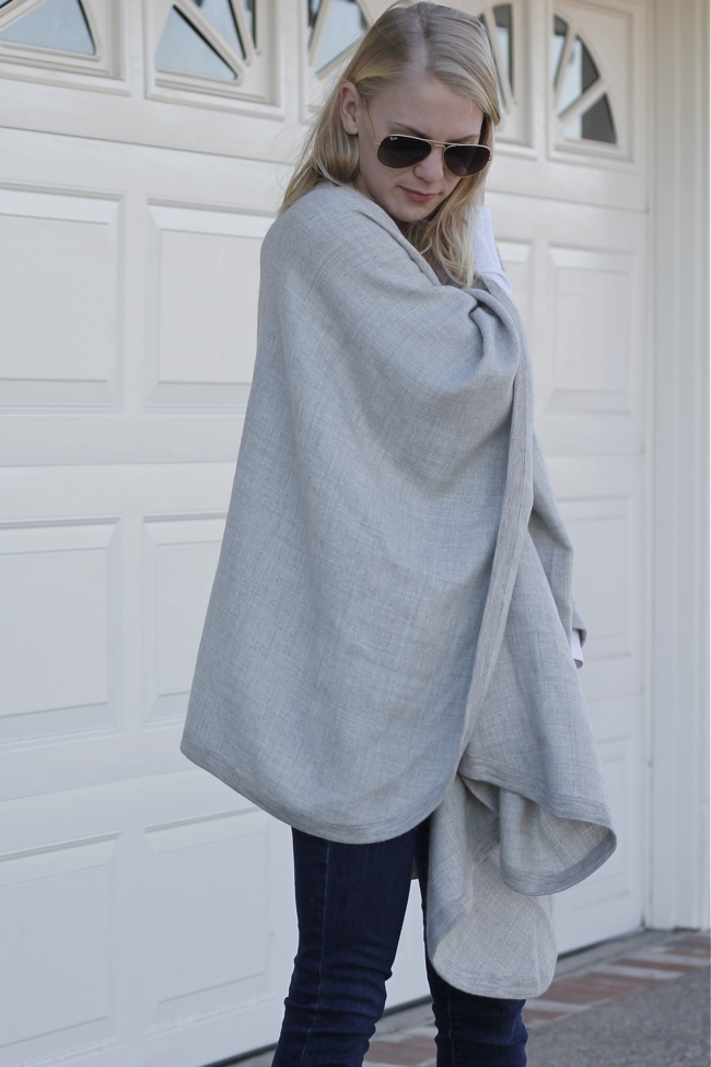 Current Habits, Huntington Beach, blogger, grey cape, Cuyana