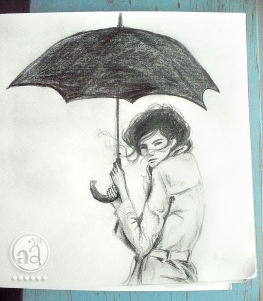 Girl with umbrella sketch artsy ants