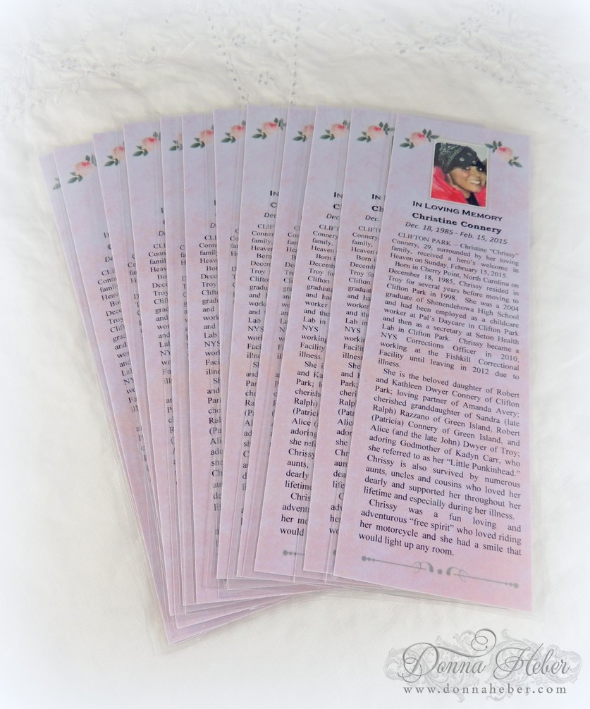 Donna's Designs: Memorial Bookmarks