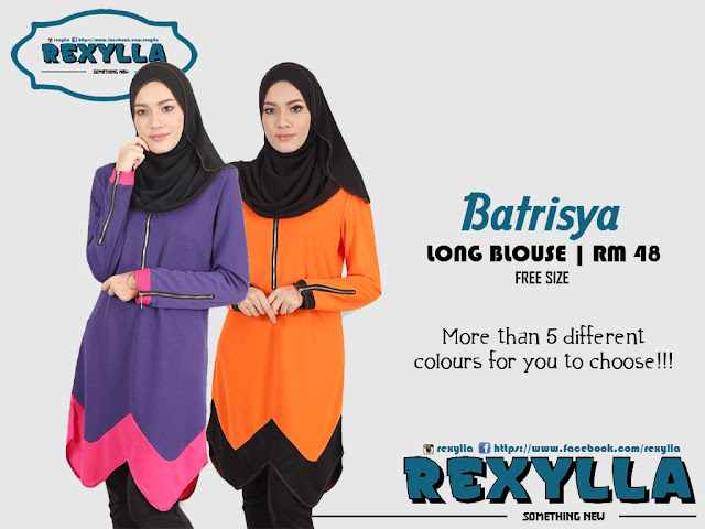 rexylla, long blouse, bf friendly, wudhu friendly, batrisya collection