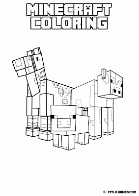Printable Minecraft coloring - Animals