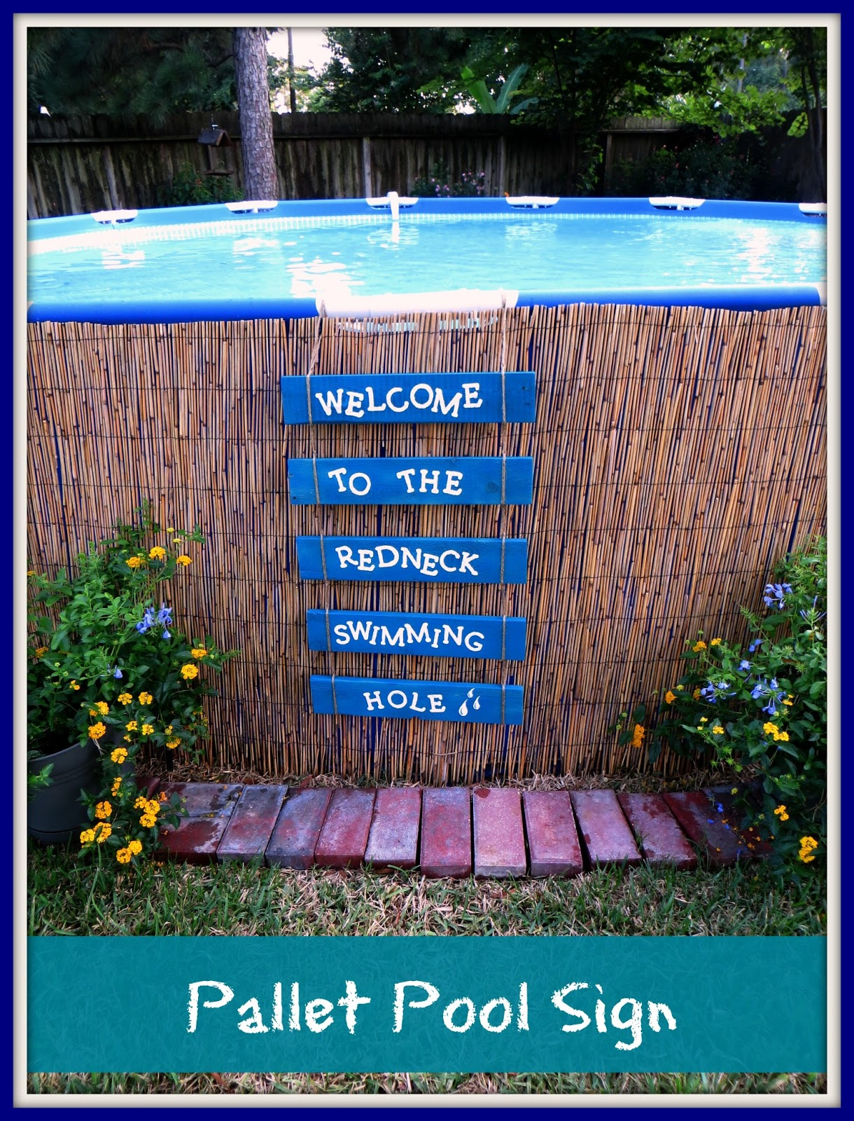 Crafty In Crosby Easy Pallet Sign And Above Ground Pool Camouflage