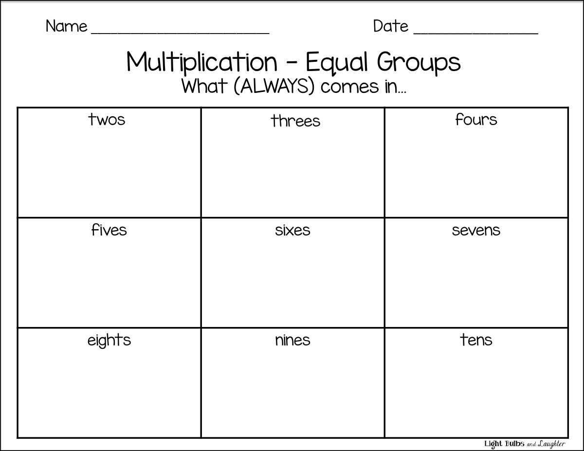 math worksheet : light bulbs and laughter intro to multiplication things that  : Multiplication Groups Of Worksheets