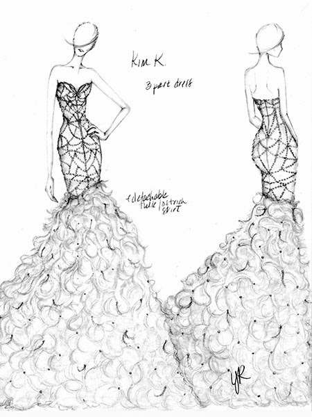 kim kardashian wedding dress sketch 01