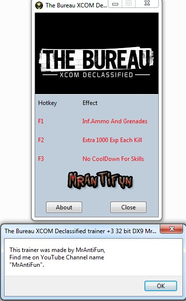 The Bureau XCOM Declassified trainer +3 32 bit DX9 MrAntiFun