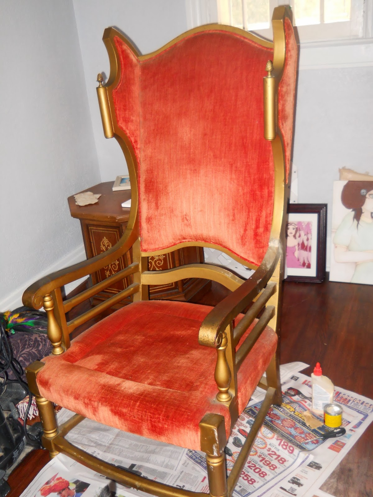 DIY Reupholster of a Throne Style Chair