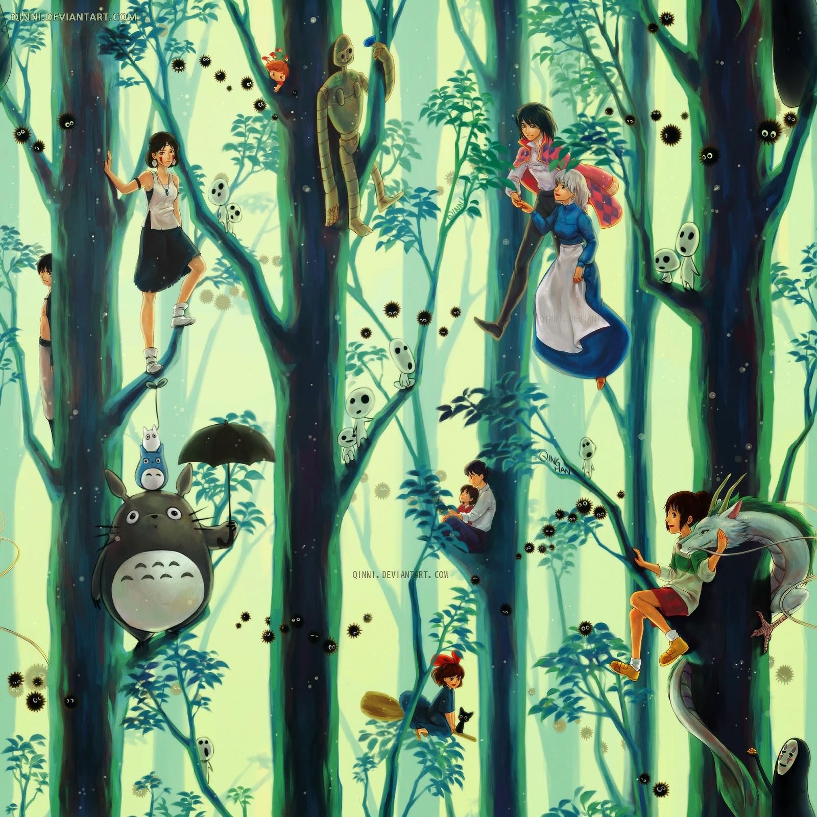 illustration de Qing Han d'une forêt avec les personnage de Hayao Miyazaki