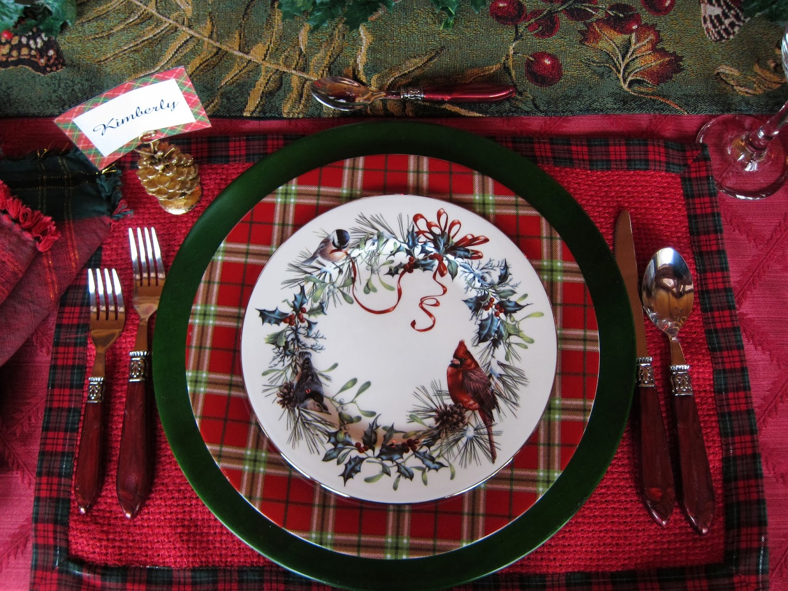 A graceful table plaid tidings of comfort and joy the lenox winter greetings salad plate has such a northwoods flair to it kristyandbryce Choice Image