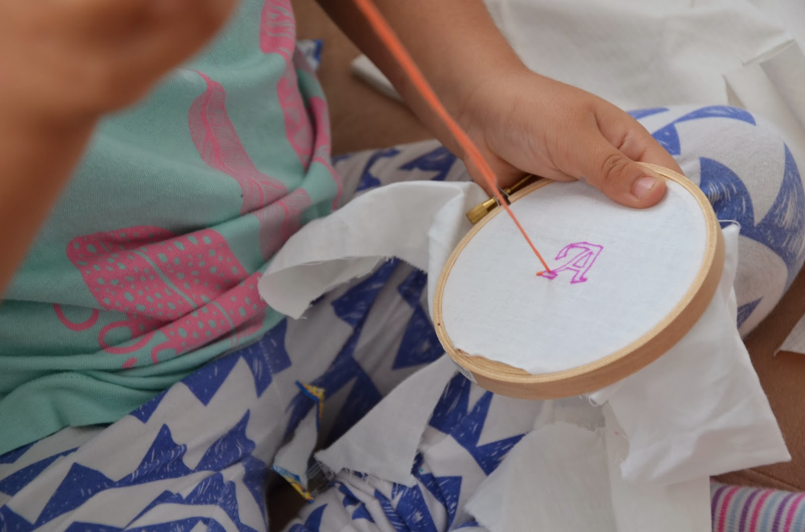 Teaching kids hand embroidery