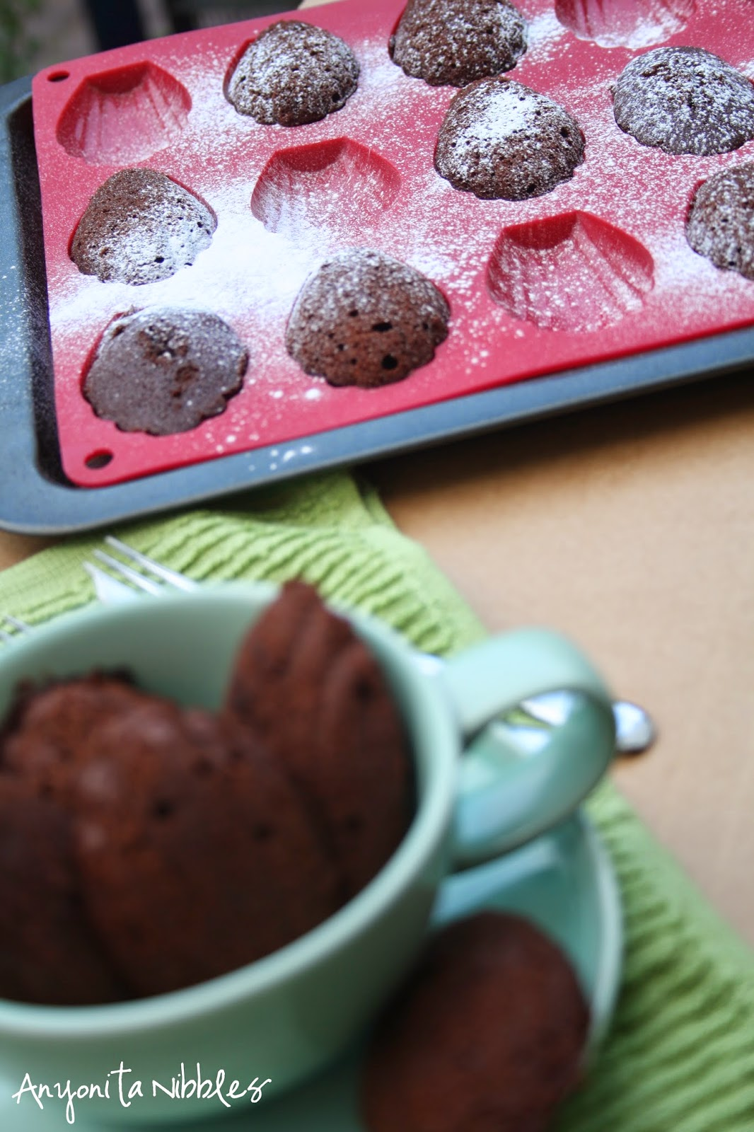 A cup and a tray of double chocolate madeleines from Anyonita Nibbles