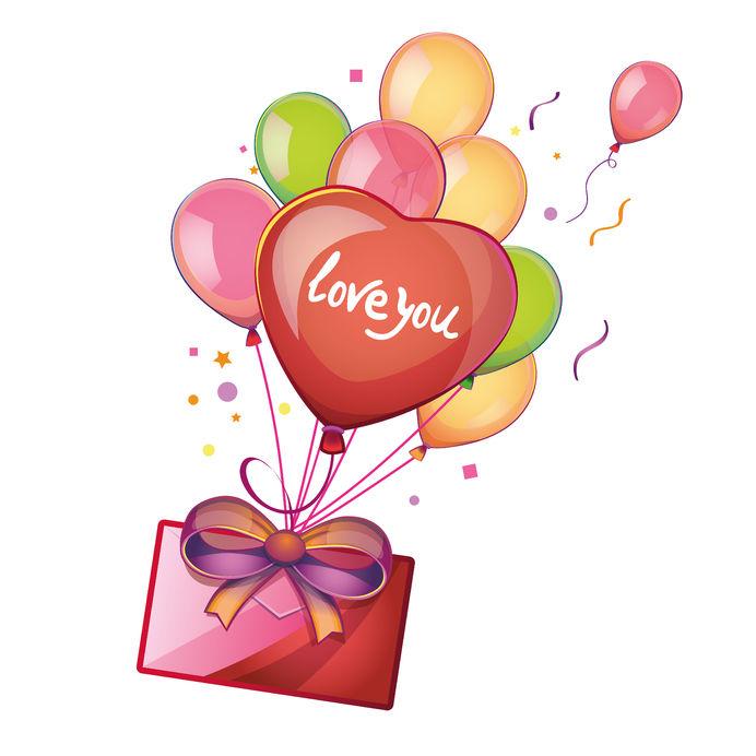 Globos en forma de corazones para San Valentín | Banco de Imágenes