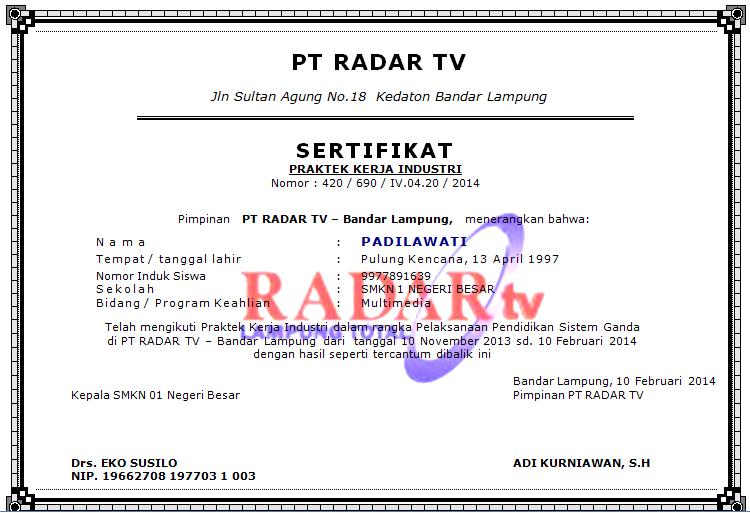 Contoh Sertifikat PKL SMK