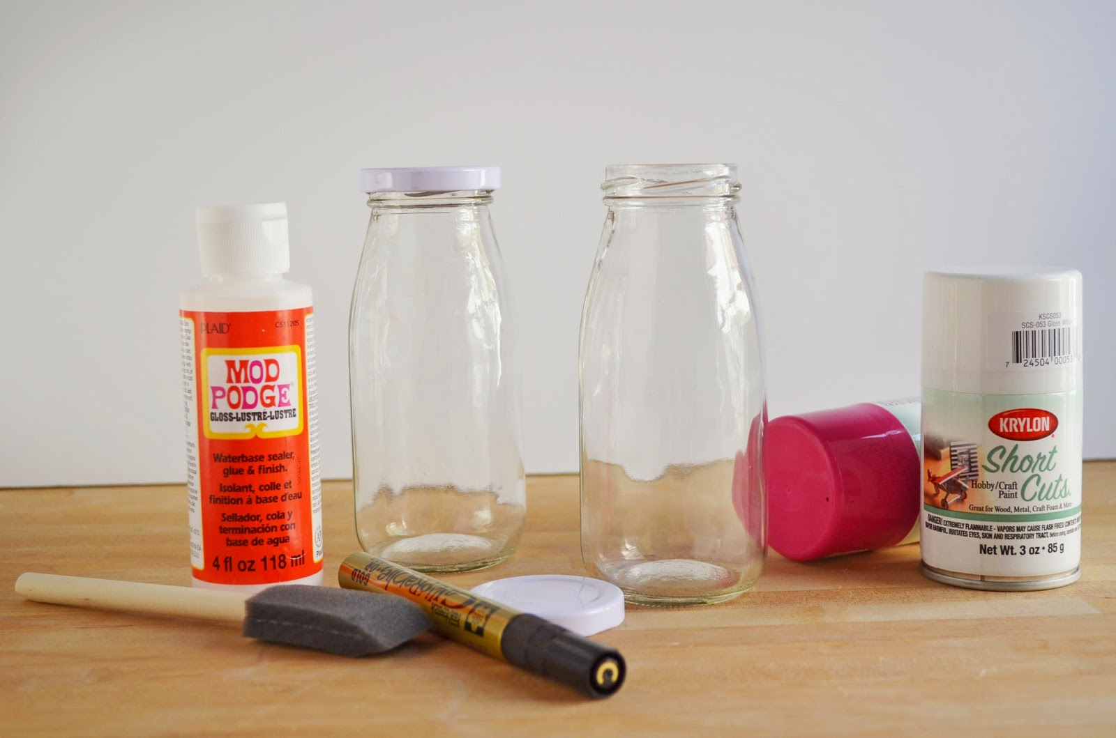 two shades of pink decoupage milk bottles kit with darby smart