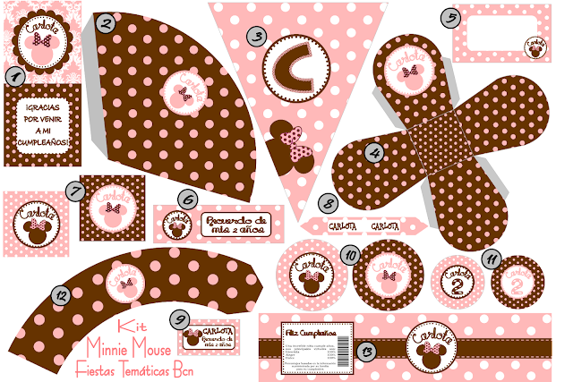 KIT PERSONALIZADO IMPRIMIBLE MINNIE MOUSE