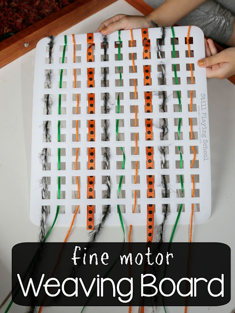 Make a weaving board for fine motor practice for kids!