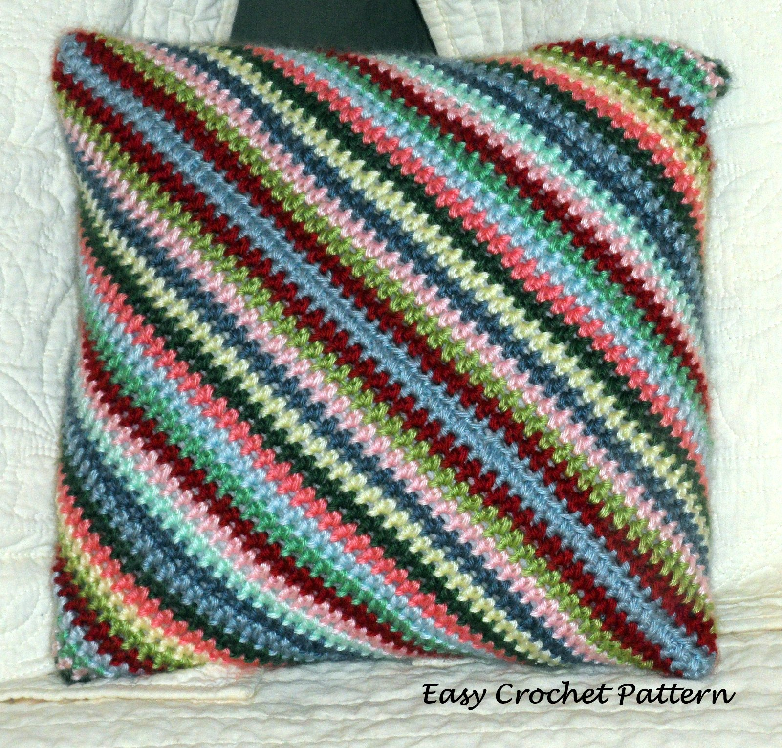 Crochet Pattern Diagonal Afghan : Easy Crochet Pattern: Diagonal Striped Crocheted Pillow