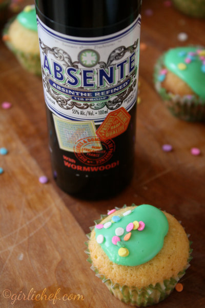 """Green Fairy"" Cakes {baking with Absinthe} 