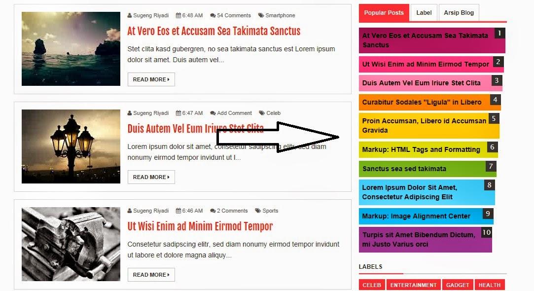 Cara Desain Widget Popular Post Warna-Warni Ala Evo Magz