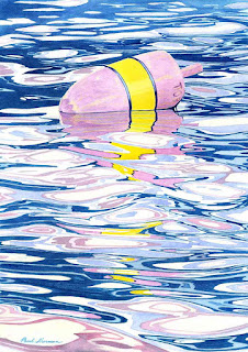 "Under-Painting For ""Pink And Yellow Buoy"" - Watercolor"