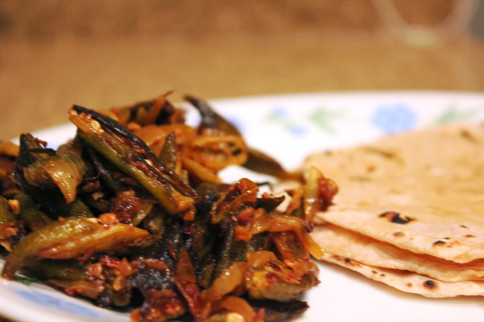 bhindi in hindi means okra and pyaz means onion in this dish onion is ...