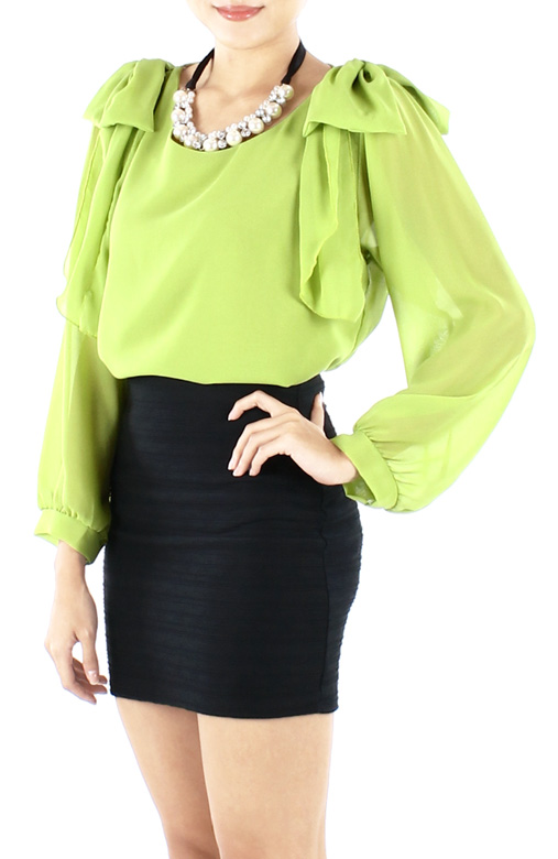Spring Green Mythical Ribbon Long Sleeve Blouse