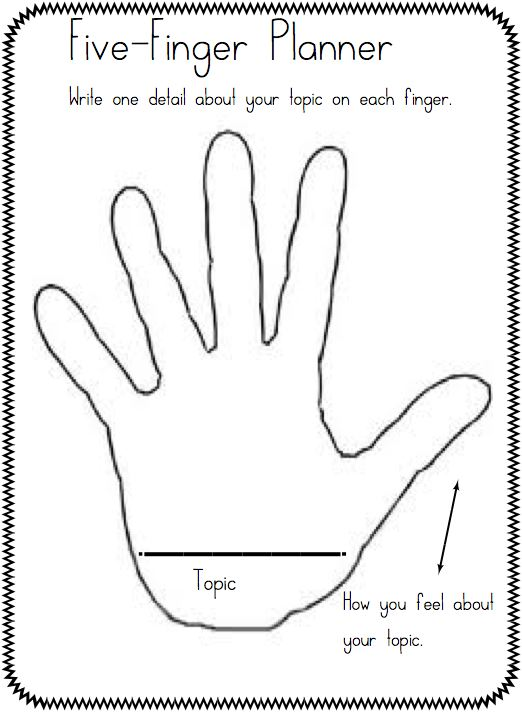Five Finger Retell Graphic Organizer Template. 5 Paragraph Essay On ...