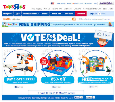 Landing page for Apr. 16, 2012 Toys R Us email