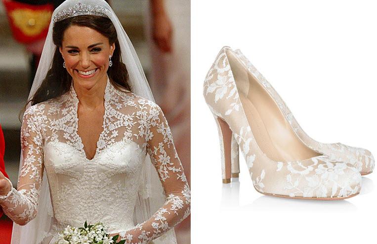 Shoe blog kate middleton 39 s wedding shoes for Heels for wedding dress