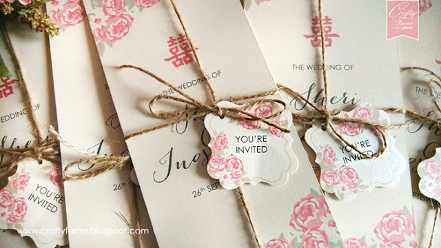 Chinese Peonies Wedding Card