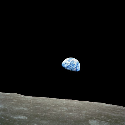"Earthrise is a photograph of the Earth taken by astronaut William Anders in 1968, during the Apollo 8 mission. Nature photographer Galen Rowell declared it ""the most influential environmental photograph ever taken."""