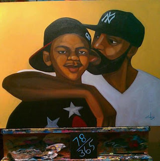Trayvon Martin Art with Dad