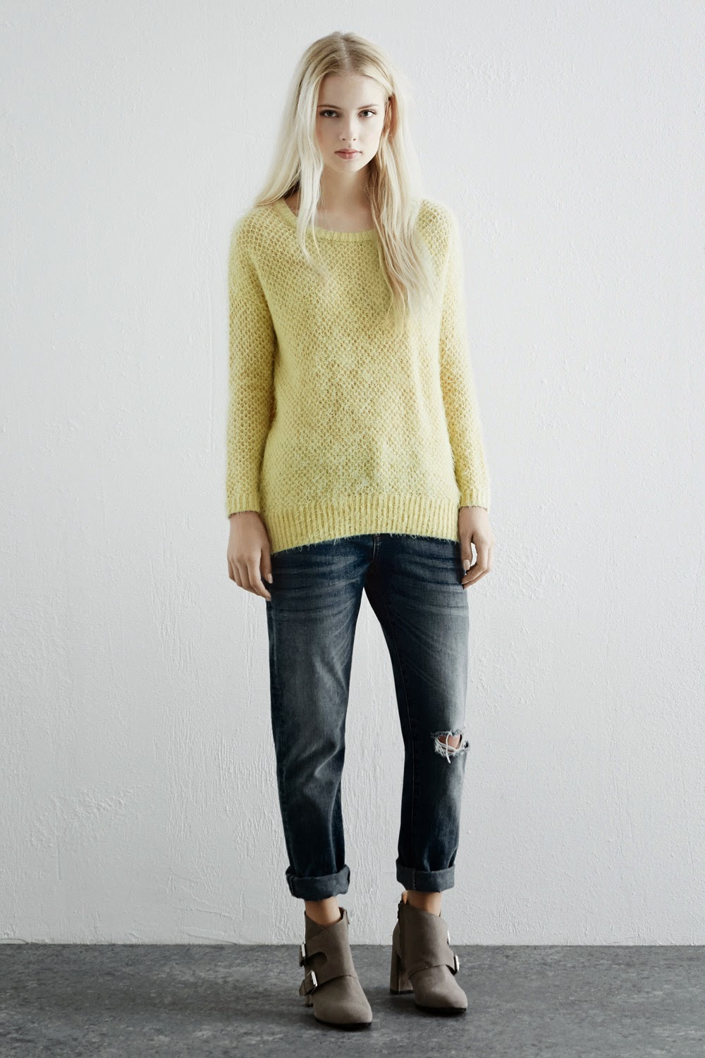 lemon jumper, warehouse yellow jumper, lemon fluffy jumper,