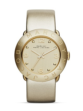 MARC BY MARC JACOBS Amy Tonal Metallic Leather Strap Watch