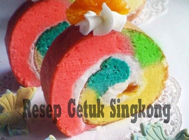 Resep Getuk Singkong Gulung Rainbow, Resep Kue dari Singkong