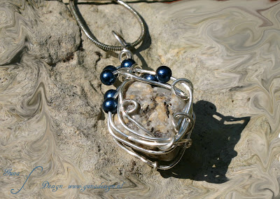 Wrapped Wire with Beads Jewelry Pendant made by Gunadesign