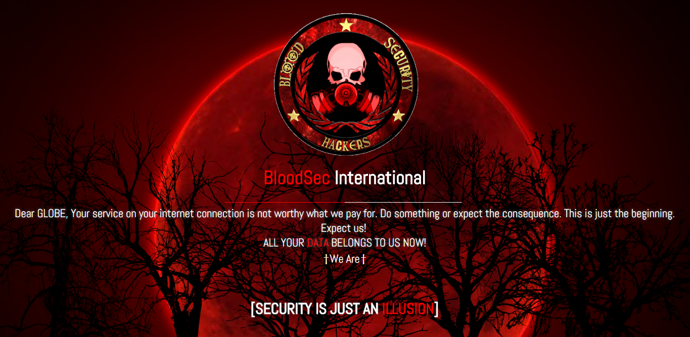 Globe Telecommunications was hacked by a Pinoy Hacktivist called BloodSec Hackers