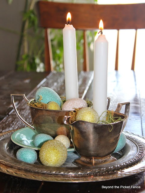 spring, centerpiece, candles, silver tray, spring eggs, Beyond The Picket Fence, http://bec4-beyondthepicketfence.blogspot.com/2015/02/spring-ideas-are-you-ready.html