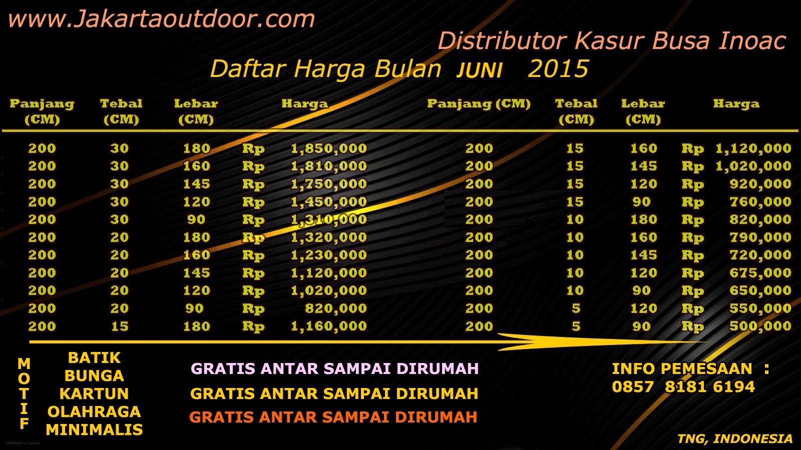 HARGA KASUR BUSA INOAC JAKARTA BULAN JUNI 2015 GRATIS ANTAR KE RUMAH