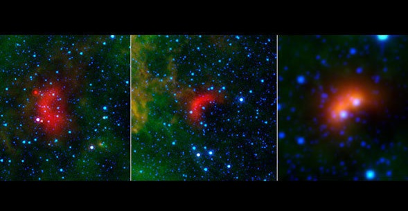 Bow shocks thought to mark the paths of massive, speeding stars are highlighted in these images from NASA's Spitzer Space Telescope and Wide-field Infrared Survey Explorer, or WISE. Credits: NASA/JPL-Caltech/University of Wyoming