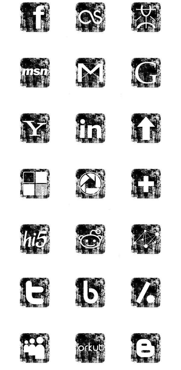 Grunge Vintage Social Media Icons Set