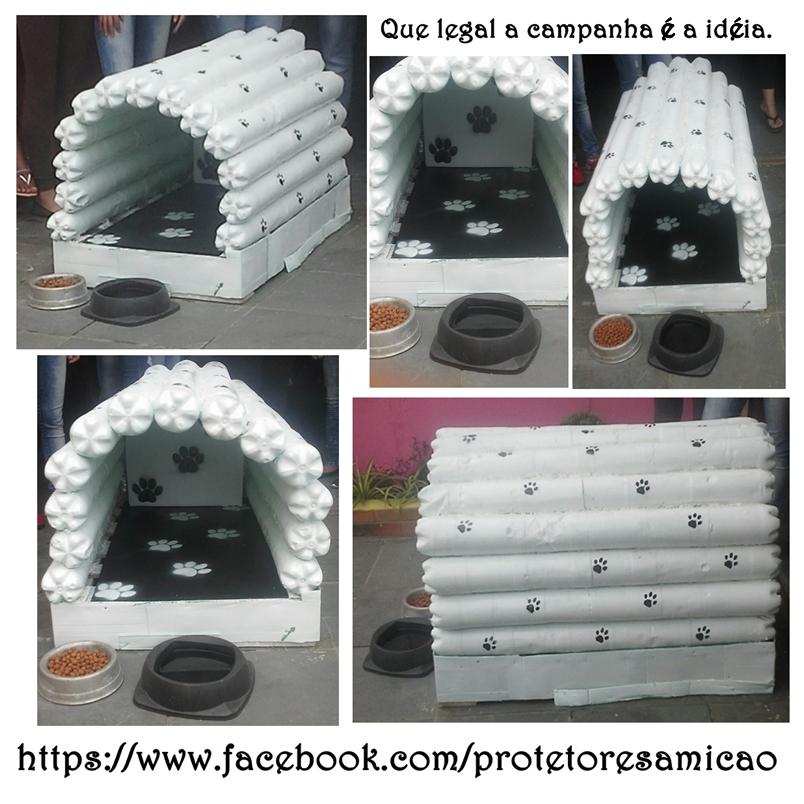 casa para cão de garrafa pet