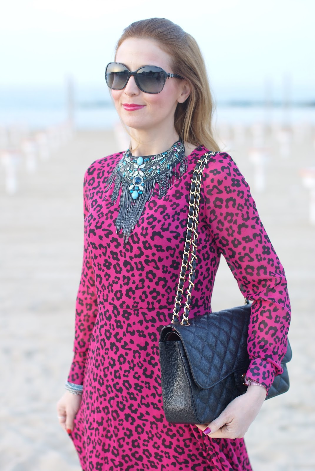 SimonaB Bijoux necklace, pink leopard dress, Fashion and Cookies fashion blog, fashion blogger style