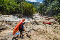 Laos, kayak whitewater scenery portage WhereIsBaer.com Chris Baer