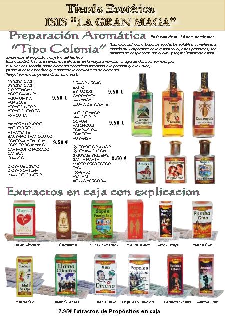 CATÁLOGO ESOTÉRICO COLONIAS Y EXTACTOS EN CAJA